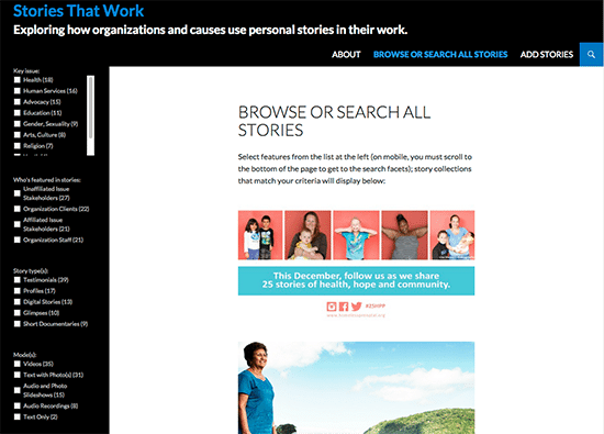 Browse or Search All Stories Page of the Stories That Work Database (click image to visit site).