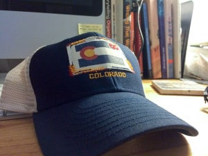 Back in the flatlands, with my new Colorado-branded hat.